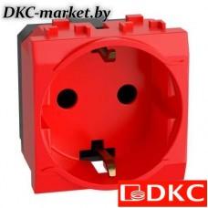 76482R Электрическая розетка, с заземлением, со шторками, красная, 2 мод.