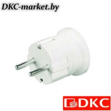 DIS1302063 Вилка кабельная, бытовая с центральным вводом кабеля. Белая. IP20 16А 2P+E 230В