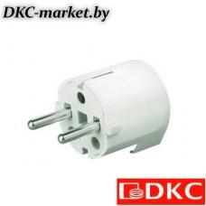 DIS13083 Вилка кабельная, бытовая с боковым вводом кабеля. Белая. IP20 16А 2P+E 230В