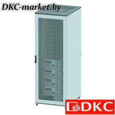 R5IT2468PF Напольный шкаф 24U 600х800 двери перфорированная/перфорированная, укомплектован вводом и заглушками RAL7011/7035