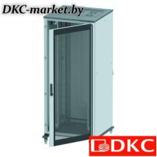 R5IT2488GS Напольный шкаф 24U 800х800 двери стекло/сплошная, укомплектован вводом и заглушками RAL7011/7035