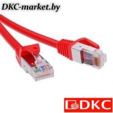 RN5EFU4505RD Патч-корд экранированный CAT5E F/UTP 4х2, LSZH, красный, 0.5м